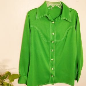 1970's Vintage Polyester Green Button Up Top Small
